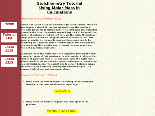 Stoichiometry Tutorial Using Molar Mass in Calculations