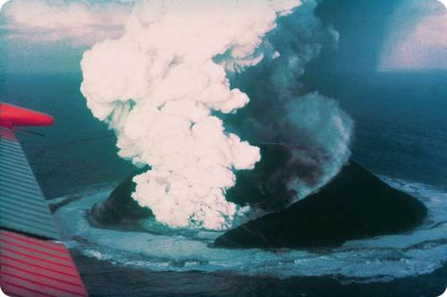A volcanic eruption at Surtsey, a small island near Iceland