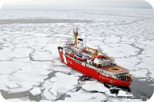 Wegener thought continental drift occurred as continents cut through the ocean floor, in the same way as this icebreaker plows through sea ice