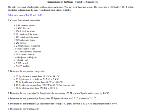 Thermochemistry Worksheet