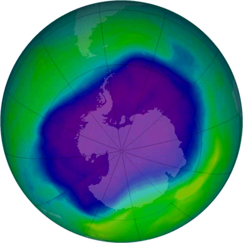 Map of the ozone hole over Earth