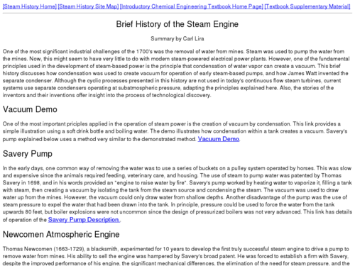 Brief History of the Steam Engine