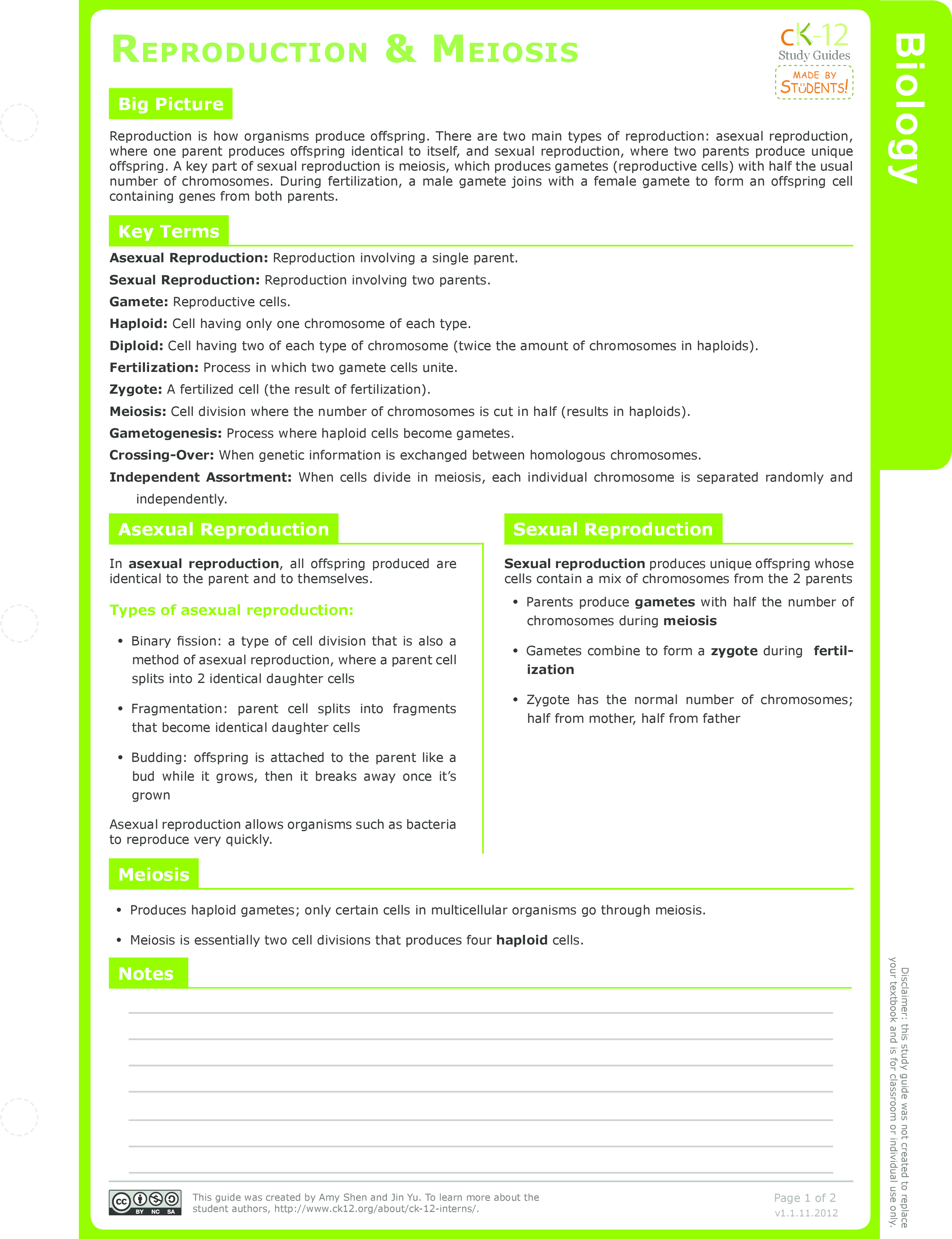 Asexual vs Sexual Reproduction Study Aids Biology – Asexual Vs Sexual Reproduction Worksheet