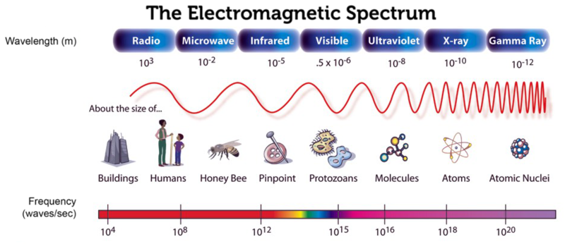 The electromagnetic spectrum spans a wide range of wavelengths and frequencies