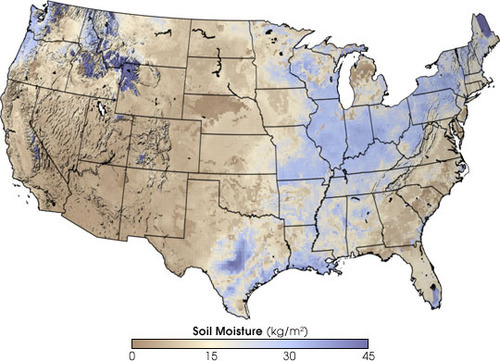 Map of the moisture content of soil in the United States