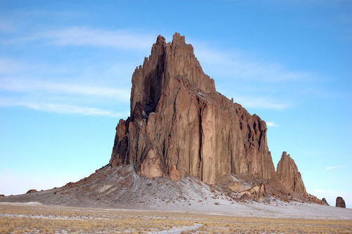 The Shiprock formation in New Mexico formed after the surrounding rock eroded away