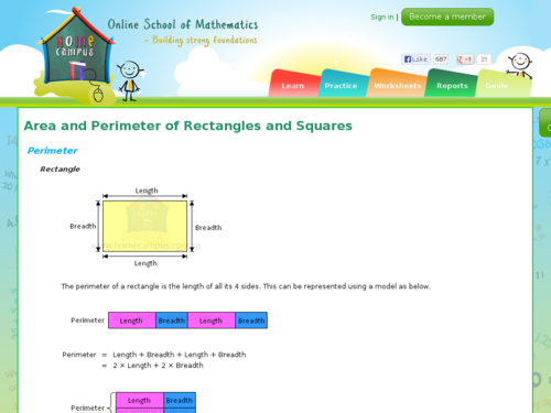 Area and Perimeter of Rectangles and Squares