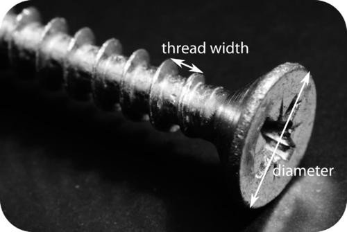 Picture of a screw with the thread width labelled