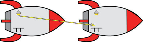 Photon bouncing off a mirror in a moving rocket
