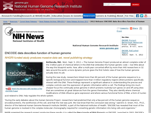 ENCODE Data Describes Function of Human Genome