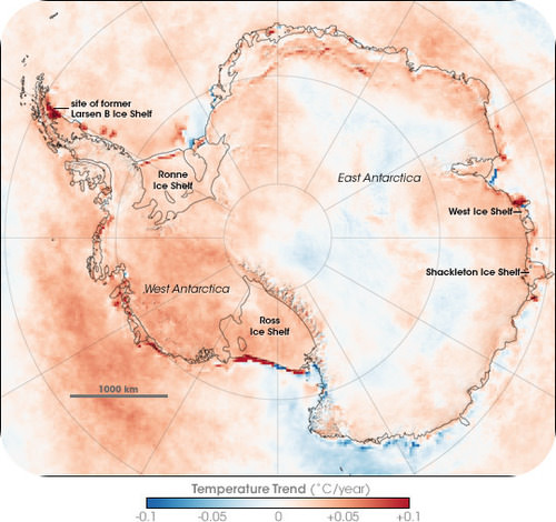 Temperature changes over Antarctica
