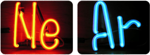 Neon and argon gas signs