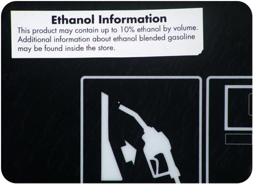 Ethanol information sign in California
