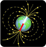 Earth's magnetic field is like a bar magnet that resides in the center of the planet