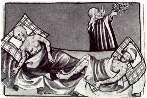 Drawing of the Black Death, caused by the bacteria Yersinia pestis