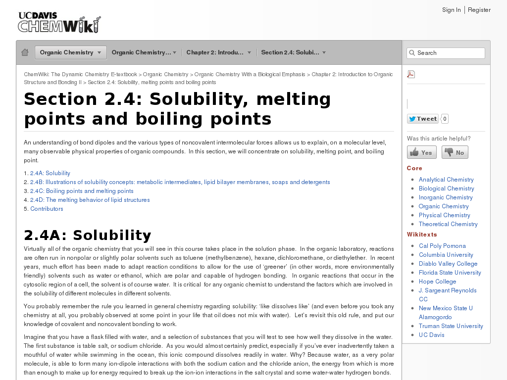 Solubility, Melting Points, and Boiling Points
