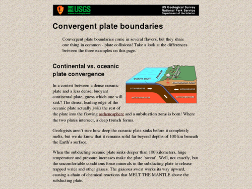 Plate Tectonics: Convergent Plate Boundary
