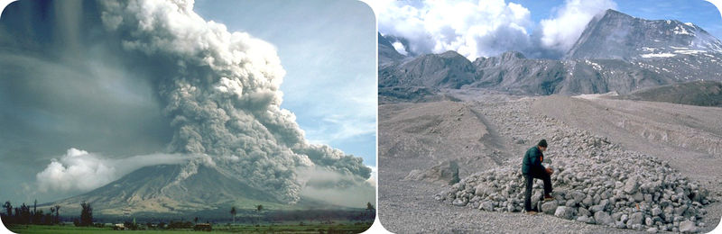 Erupting volcano and pyroclastic flow aftermath