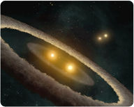 This is an artistic rendition of HD 98800, a quadruple star system made of two binary star systems
