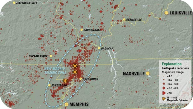 The map of the New Madrid seismic zone
