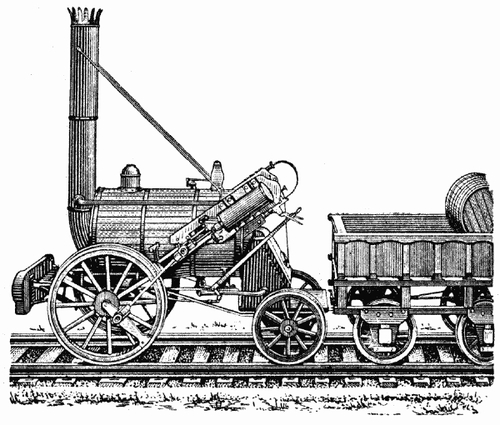 Drawing of the locomotive Rocket.