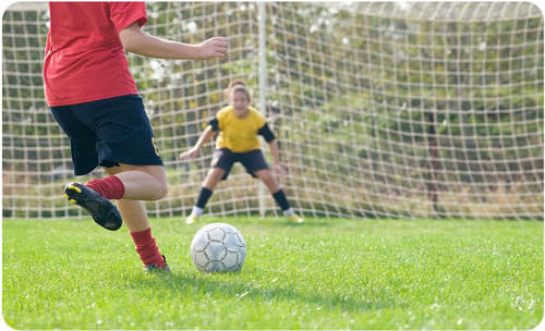 Kicking a soccer ball takes energy from your food and gives it to the soccer ball