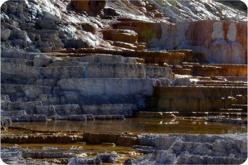 Gypsum around Mammoth Hot Springs in Yellowstone National Park