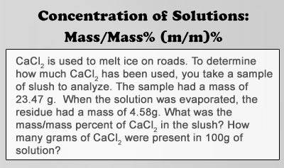 Concentration of Solutions: Mass/Mass% (m/m)%