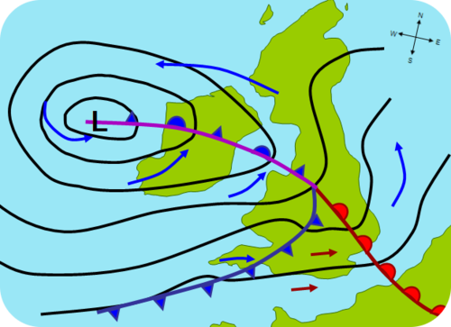 A hypothetical mid-latitude cyclone affecting the United Kingdom