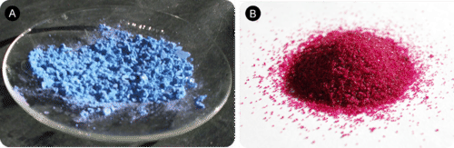 Anhydrous cobalt chloride is blue, while hydrated cobalt chloride is red
