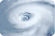 The eye of a hurricane seen from space