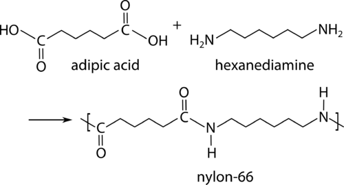 Example of a condensation reaction to form a polyamide