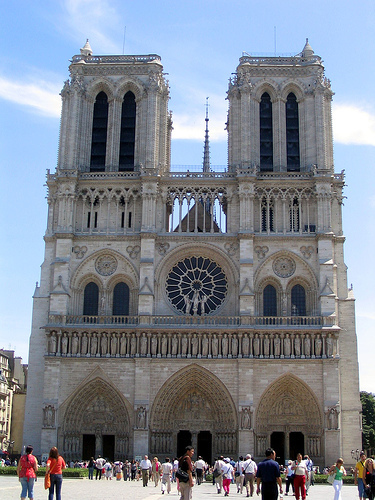 The west facade of the cathedral of Notre Dame de Paris.