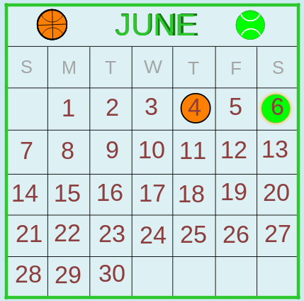 Common Multiples: Sports Calendar