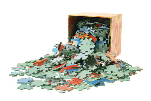 Jigsaw puzzles, like complex chemical reactions, occur one step at a time