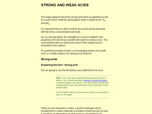 Strong Versus Weak Acids