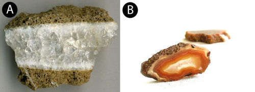 Picture of a quartz vein and a geode