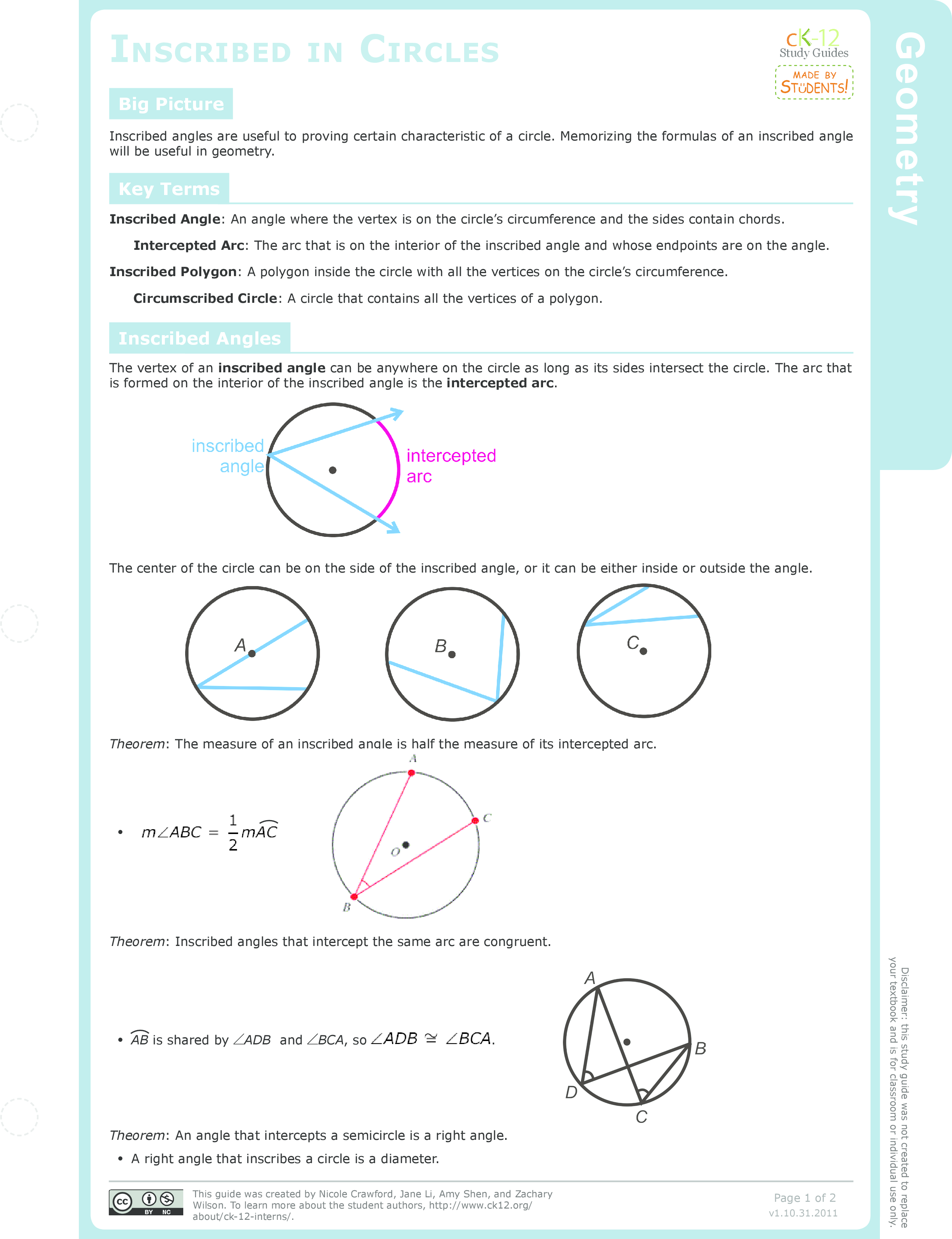 Worksheets Inscribed Angles Worksheet inscribed angles in circles ck 12 foundation study guide