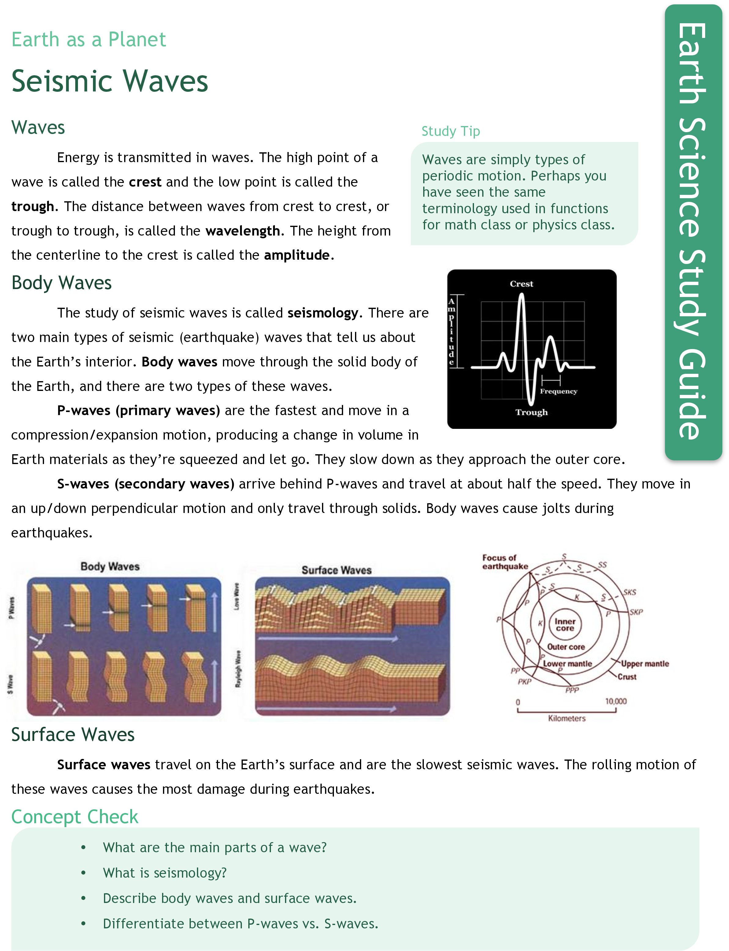 Worksheets Earthquakes And Seismic Waves Worksheet seismic waves ck 12 foundation study guide