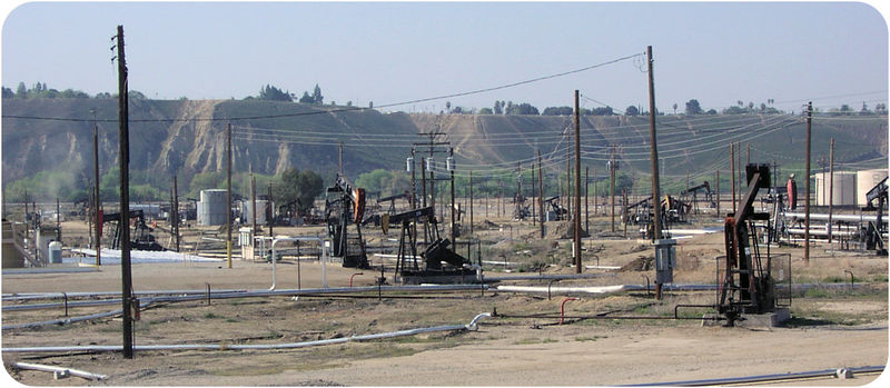 Drill rigs at San Ardo Oil Field, California