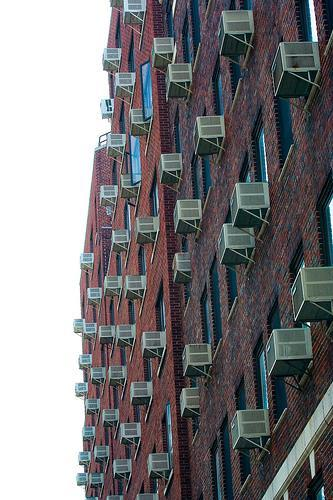 Walls of apartment buildings.