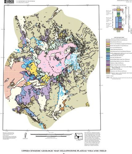geologic map of the region around Old Faithful, Yellowstone National Park