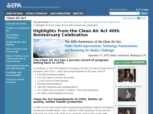 Highlights from the Clean Air Act 40th Anniversary Celebration
