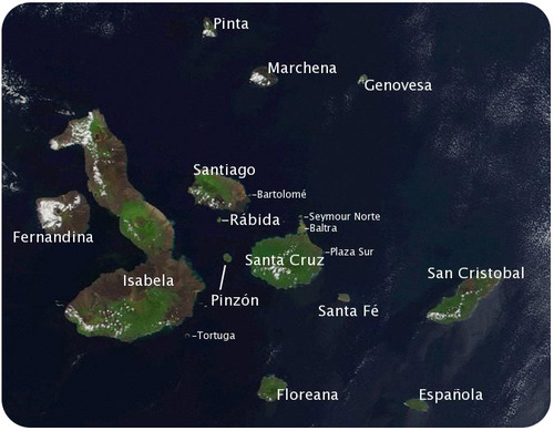 Satellite photo of the Galapagos islands, labeled