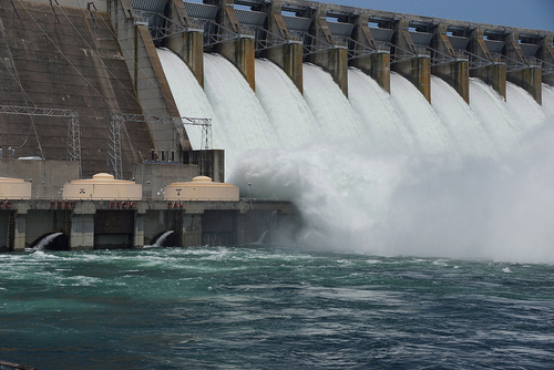 A hydroelectric plant converts the energy in moving water into electricity