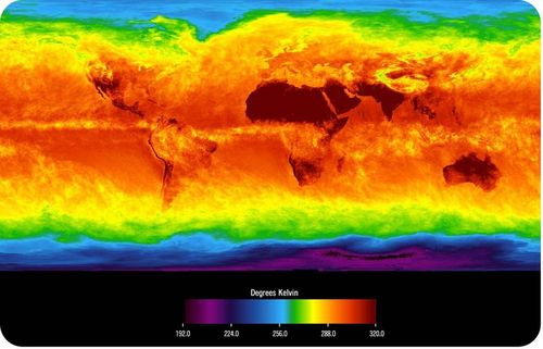 Map of temperatures of the Earth