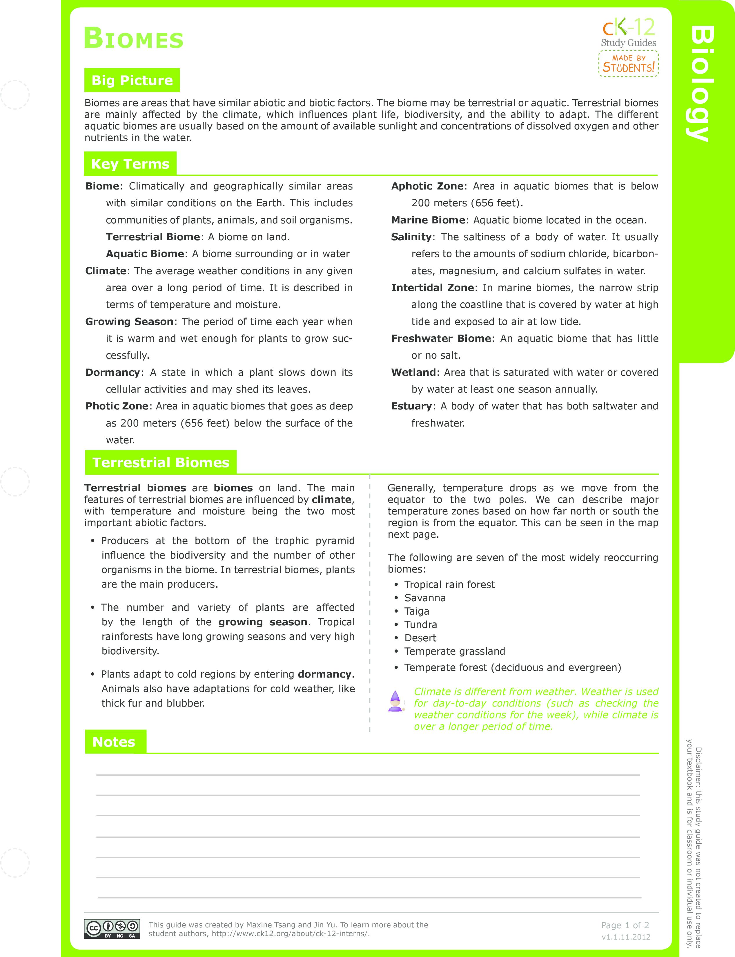 worksheet Terrestrial Biomes Worksheet terrestrial ck 12 foundation biomes study guide