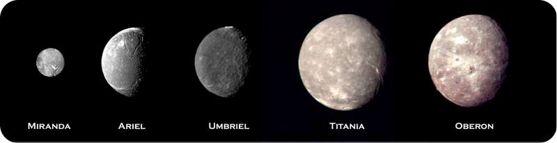 The five biggest moons of Uranus: Miranda, Ariel, Umbriel, Titania, and Oberon