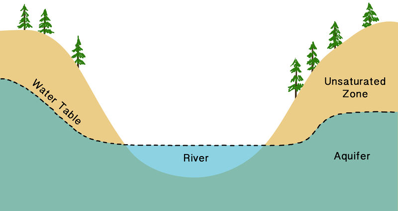 Diagram of the water table and a river