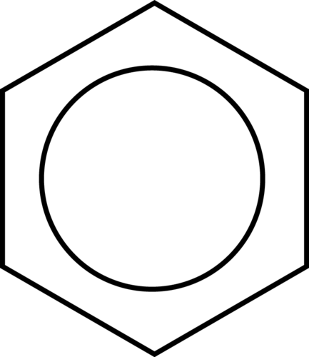 Benzene is often drawn as a circle in a hexagon